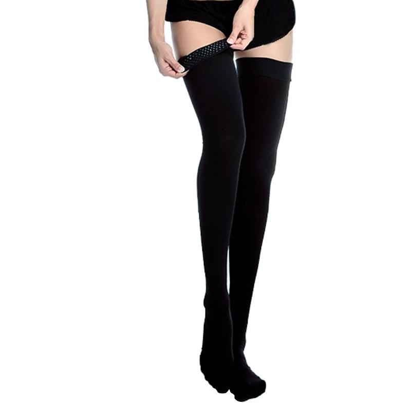 舒尔美 医用弹力袜 一级大腿袜 包趾厚款 1双(XL,黑色) SMK002041/AGXL511B(厂家直发)