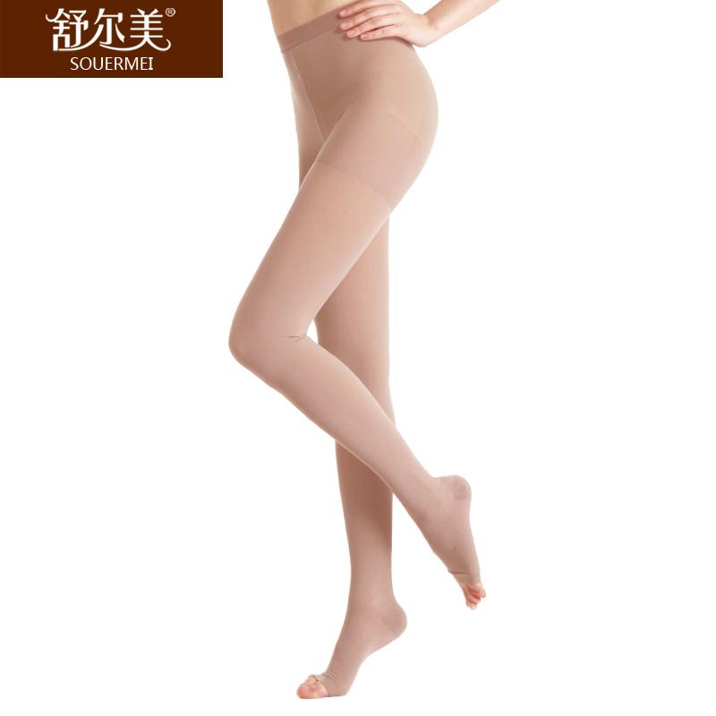 舒尔美 医用弹力袜 一级连裤袜 露趾厚款 1条(S,肉色) SMK011011/ATS501N(厂家直发)