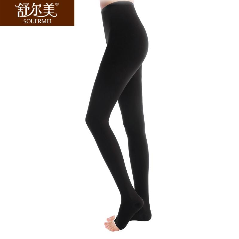 舒尔美 医用弹力袜 一级连裤袜 露趾厚款 1条(L,黑色) SMK011031/ATL501B(厂家直发)