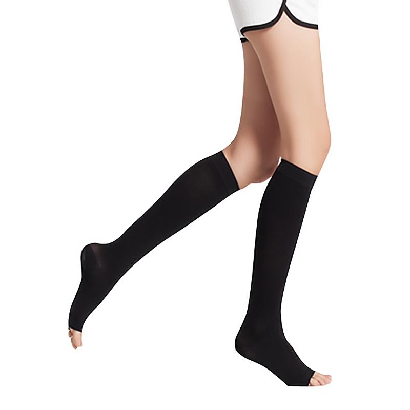 舒尔美 医用弹力袜 二级小腿袜 露趾厚款 1双(XXL,黑色) SMK101551/ADXXL502B(厂家直发)