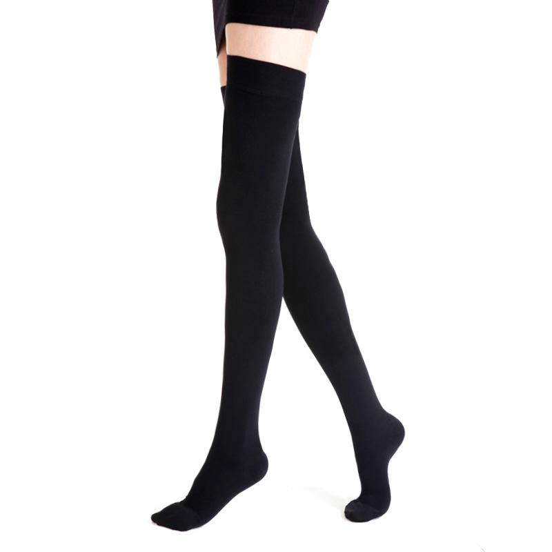 舒尔美 医用弹力袜 二级大腿袜 包趾厚款 1双(XXL,黑色) SMK002151/AGXXL512B(厂家直发)