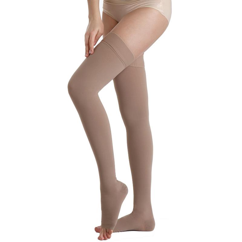 舒尔美 医用弹力袜 三级大腿袜 露趾厚款 1双(M,深肉色) SMK101321/AGM503M(厂家直发)