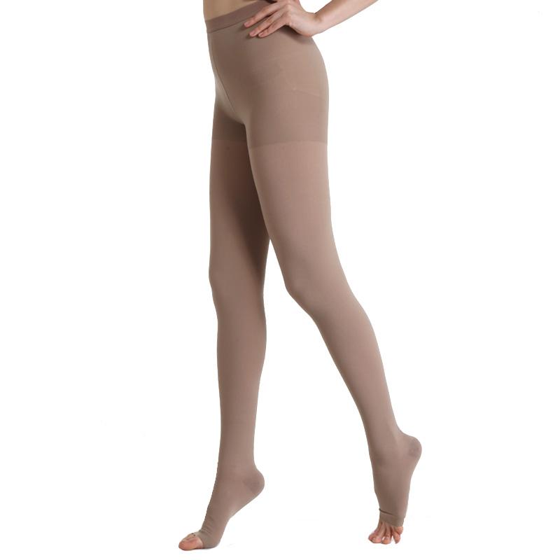舒尔美 医用弹力袜 三级连裤袜 露趾厚款 1条(L,深肉色) SMK011231/ATL503M(厂家直发)
