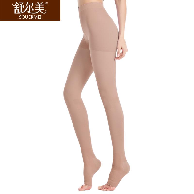 舒尔美 医用弹力袜 二级连裤袜 露趾薄款 1条(M,肉色) SMK011121/薄ATM502N(厂家直发)