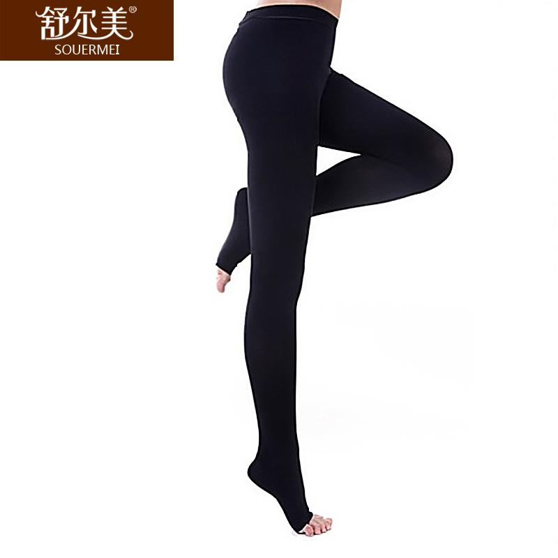 舒尔美 医用弹力袜 二级连裤袜 露趾厚款 1条(XL,黑色) SMK011141/ATXL502B(厂家直发)
