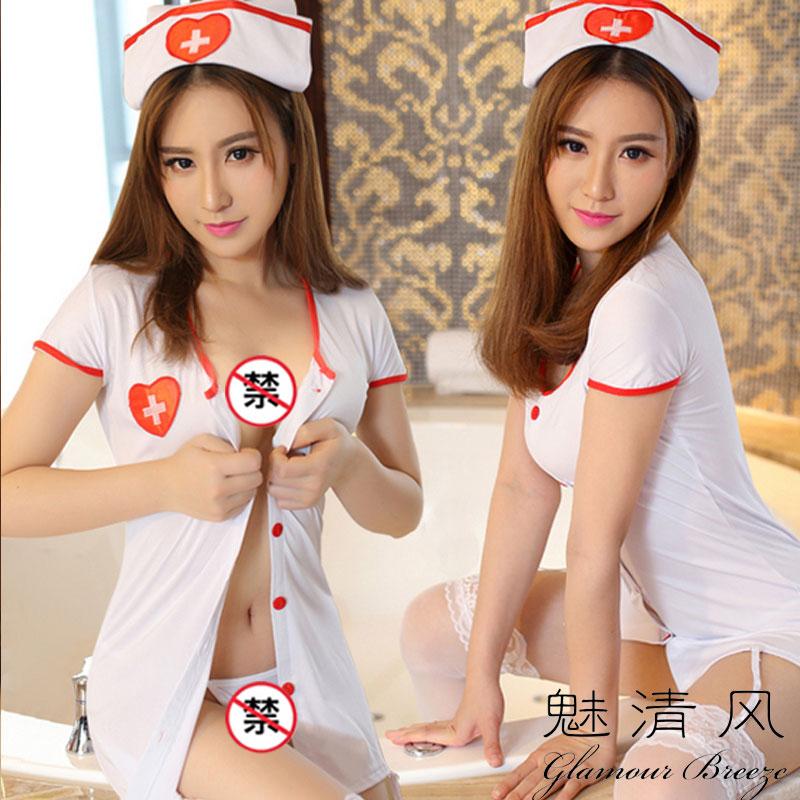 魅清風 情趣制服護士裝 1887323 (帽子+丁字褲+長裙) 白色