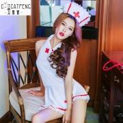 冯猫猫 乖俏护士花边短裙制服装情趣内衣 2112 白色 (帽子+衣服+内裤) 1套