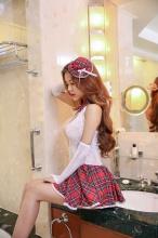 魅清风 性感镂空提花紧身透明裙 6042 (衣服+手袖2个+帽子) 1套