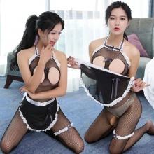 魅清风 情趣内衣 6017 紧身连体衣透明蕾丝装 (连体裙+腰带+腿环一个) 1套