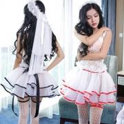 魅清風 性感情趣內衣 6001 新娘婚紗裝含頭紗蓬蓬裙 (頭紗+襪子+衣服) 黑色 1套