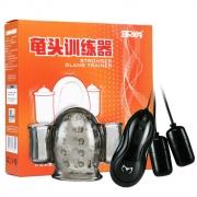 愛巢取悅 久挺龜頭訓練器 充電版 透明黑/黑色 (套頭2+線控雙跳蛋1+充電線1) 1盒