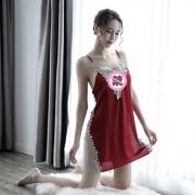 依絲特 性感刺繡蕾絲鏤空睡裙 1186 紅色 1件