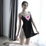 依絲特 性感刺繡蕾絲鏤空睡裙 1186 黑色 1件